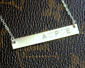 Sterling Silver Bar, Engraved Necklace, Personalized, Gold Bar necklace, Nameplate necklace,  Mommy Heart Initial Monogram, Name Kardashian