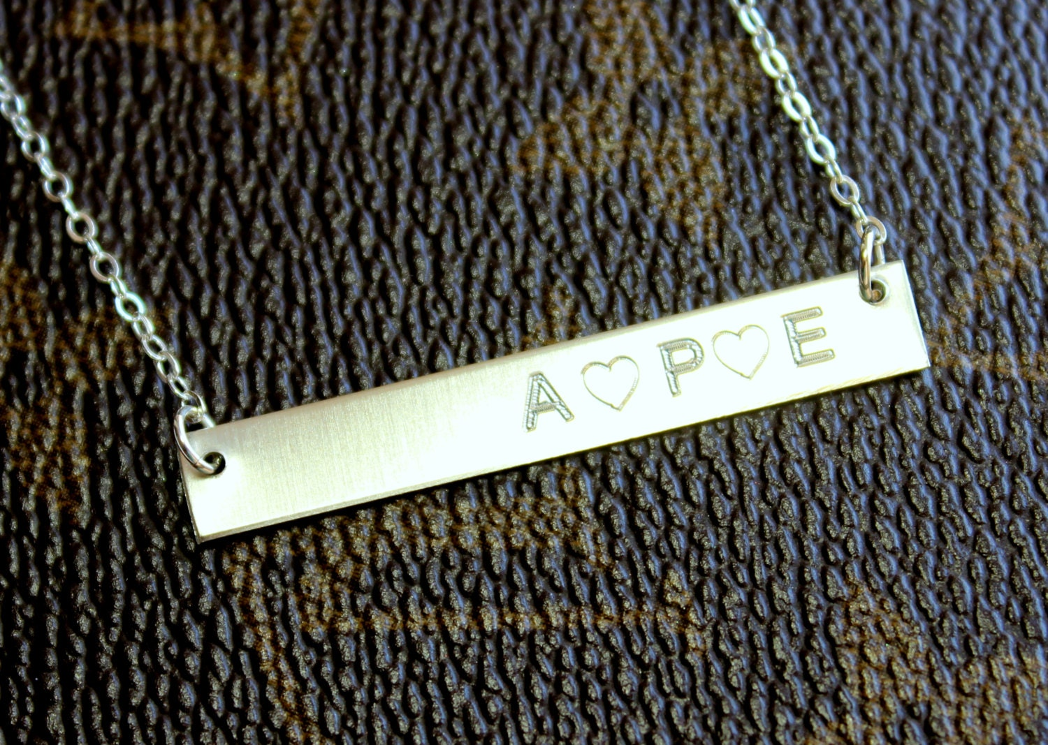 sterling silver bar engraved necklace personalized gold bar