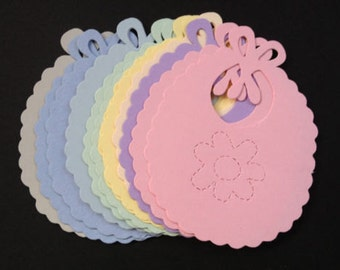 15 Pastel Baby Bib die cuts for cards/toppers cardmaking scrapbooking baby showers nappy cakes
