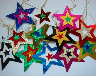 12 handmade Shiny holographic Christmas Star gift tags for presents- come pre-strung