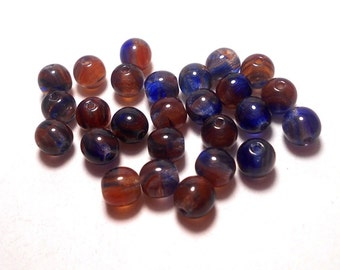 50 6mm Blue Red Hurricane Czech Beads, Blue and Red Swirl Beads, Earth Color Beads, Mulit-color Beads,Glass Beads, Beads for Jewelry  D-A10