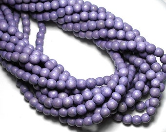 6mm Lilac Wood Beads, 6mm Purple Beads, Purple Beads, Light Purple Beads, Dyed Wood Beads, Wooden Beads, Wood Beads for Jewelry D-M03P