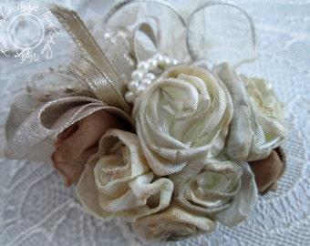 Marble Memories Flower Broach, Wedding Accessory, Shabby Chic, Handmade Fabric Flowers, Flower Brooch, Shabby Broach, Vintage Wedding