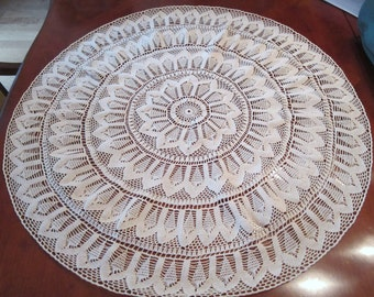 Large New Handmade Round Ecru CrochetTablecloth - 30 inches
