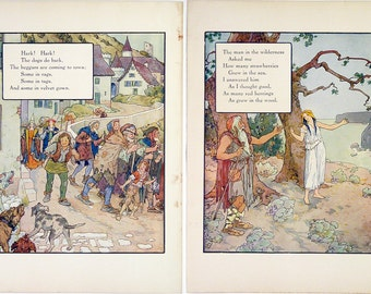 Vintage 1915 Mother Goose Rhymes Print Wall Art by Frederick Richardson Full Color Lithograph Hark! Hark! Childrens Illustration