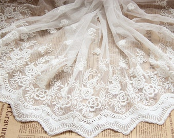 1yard DIY Lace ribbon online store flower embroidered ribbon DIY material 28cm lace belt white trim organza lace for wedding