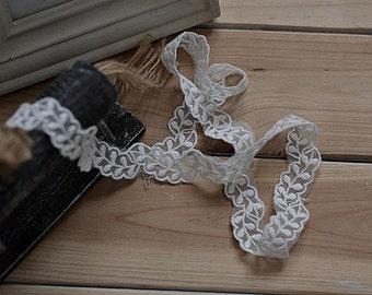 2 yards leaves lace trim,2cm  white Lace trim,DIY sewing ribbon