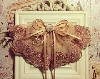 Elegant French Lace Fabric Hair Bow Barrette, Victoria, Champagne / Soft Brown Flower Lace - oversized bow, large bow