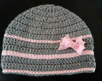 The Makenzie Striped Beanie (bow not included)