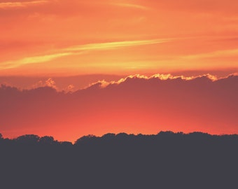 Lava Sunset Color Photo Print { clouds, dramatic, orange, sky, yellow, glow, red, fire, wall art, macro, nature & fine art photography }