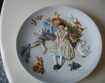 """Collectible """"Spring - Sweet Song So Young"""" by Norman Rockwell, Plate Gorham Fine China Limited Edition"""