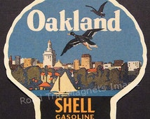 Shell Gasoline 1920s Travel Decal Magnet for OAKLAND (CA). Accurate reproduction & hand cut in shape as designed. Nice Travel Decal Art
