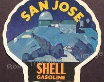 Shell Gasoline 1920s Travel Decal Magnet for SAN JOSE. Accurately Reproduced & hand cut in shape as designed. Nice Travel Decal Art