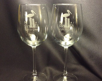 Set of 2 - 19oz wine glasses with funny saying. Copy