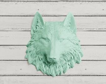 The Mini Sierra in Mint Turquoise Green - Wolf Faux Taxidermy Fauxidermy Fake Animal Head Decor - Decorative Ceramic Plastic Resin Wall Art