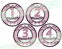 Chevron Baby Stickers / Baby Growth Iron-Ons / Monthly Baby Decals / Baby Month Appliques - Purple Chevron - Instant File (Printable)