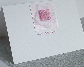 Handmade Christmas Card for Wife, Sister, Niece, Daughter etc. 'Pink Star'