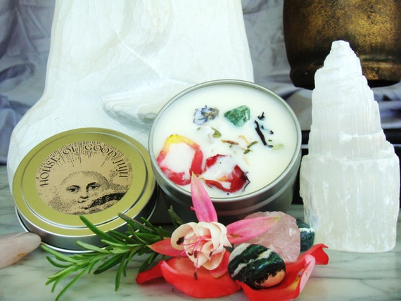 Happily Ever After Candle infused with Sardonyx and Rose Quartz