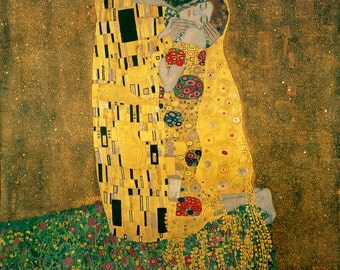 Gustav Klimt, The Kiss, Linen Canvas Oil Painting Reproduction, The Kiss by Gustav Klimt, Handmade Quality, 24 x 24 inch