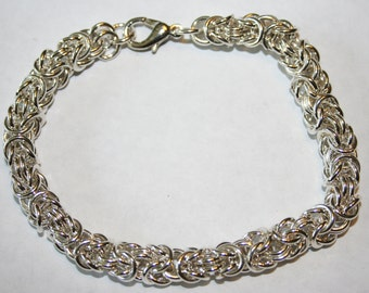 Handmade Sterling Silver Chainmaille or Chain Maille Bracelet  Byzantine Weave 18 gauge