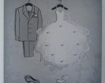 "Handmade Personalised 6"" Square Personalised Wedding Card"