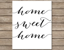 home quote decor  home decor  typography  home sweet home print
