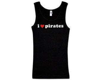 Ladies Tank Top - I Heart Pirates 2