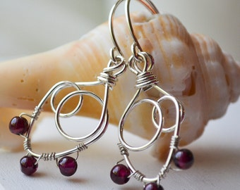 Sterling and Garnet  Earrings Handmade Wire Wrapped