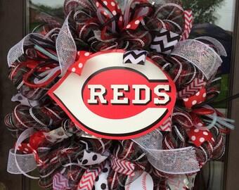 Cincinnati Reds Baseball deco mesh wreath