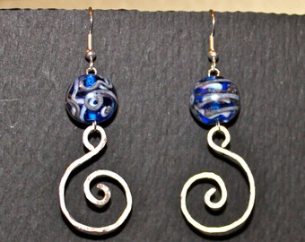 Blue and Silver Murano Glass Hammered Silver Spiral Earrings