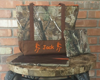 Camo and Orange Personalized Diaper Bag Tote Set with Matching Clutch and Changing Pad
