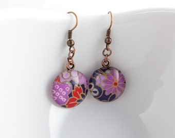 Purple Dangle Earrings - Glass Earrings - Made with Japanese Chiyogami Paper - Purple Red and Blue - Copper Earrings - Paper Anniversary