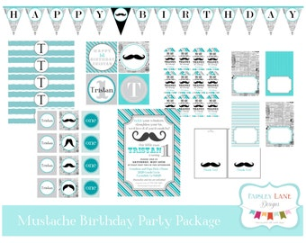 Mustache Birthday Party Printable Package