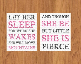 Let Her Sleep For When She Wakes And Though She Be But Little She Is Fierce Nursery Wall Art Hot Pink Black Grey Chevron Set of Two (182)