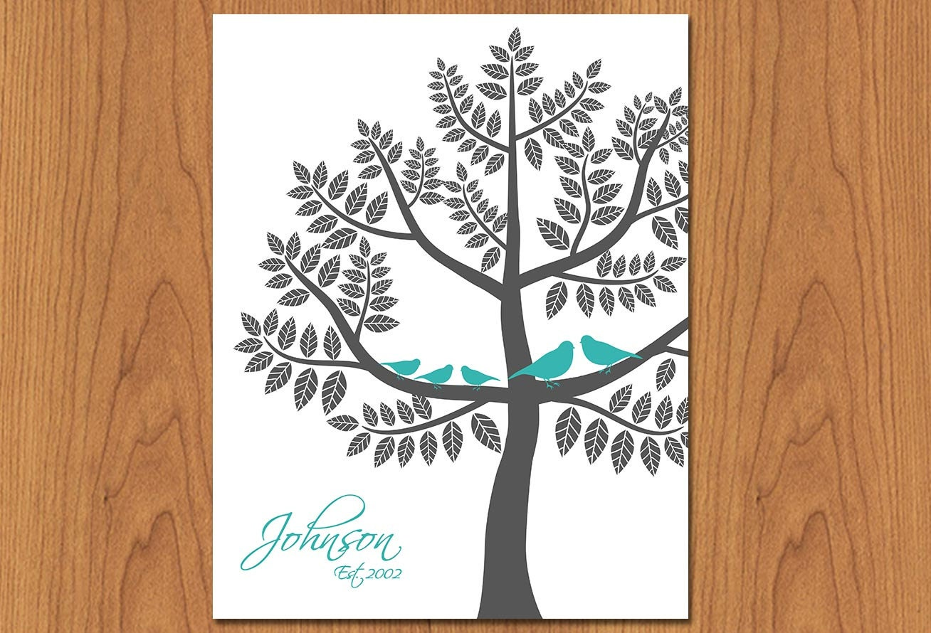 personalized family tree wall art sign by paisleypeacockprints. Black Bedroom Furniture Sets. Home Design Ideas