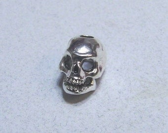 Six 3-D Skull Beads, Sterling Silver Plated Pewter With 3mm Vertical Hole, Made In USA