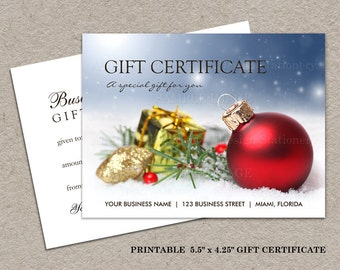 DIY Printable Christmas And Holiday Gift Certificates, Christmas Gift Cards, Holiday Gift Certificate, iDesign Stationery