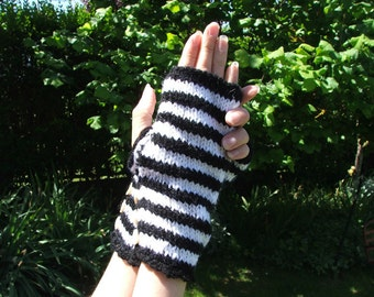 Hand Knitted Mittens - Striped Black and White
