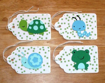 Boy Gift Tag Set - Animal Gift Tag Set - Homemade Gift Tags - To and From Gift Tags - Birthday Favor Tags - Hang Tags - Set of Four (4)