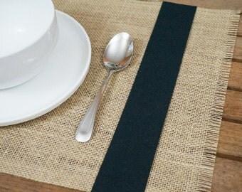 Burlap Placemats, Set of 13x18, Choose a Color Ribbon Trim, Rustic Table Placemat