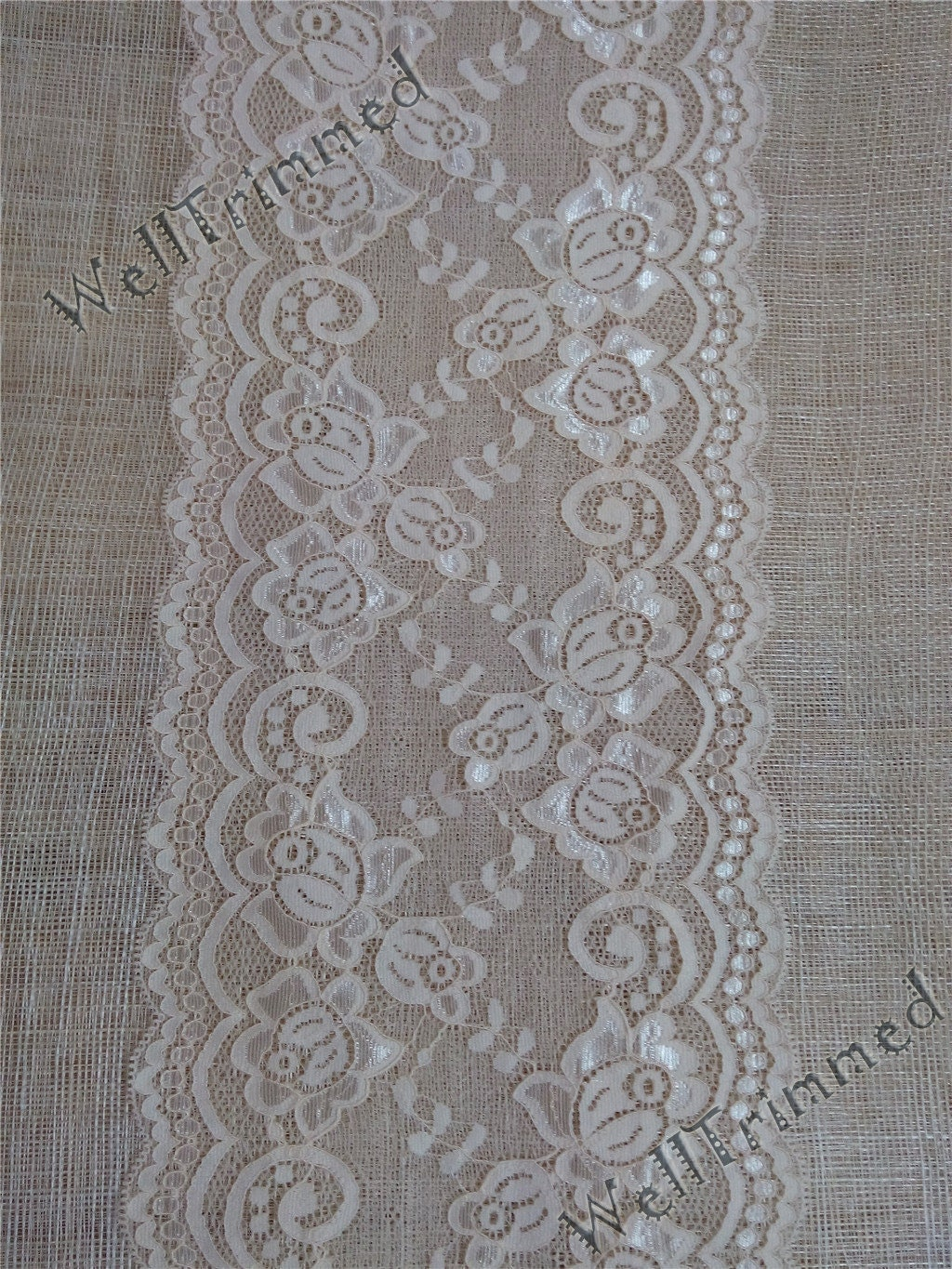 peach lace table runner wedding table runner lace by welltrimmed