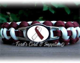 Head & Neck Cancer, Throat Cancer, Laryngeal Cancer, Pharyngeal Cancer, Oral Cancer Awareness Bracelet, Paracord Bracelet, Support Bracelet