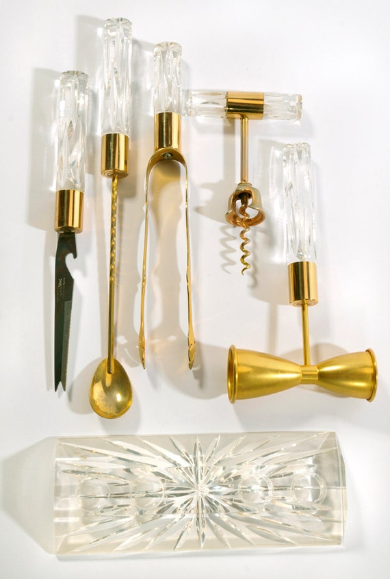 Vintage Lucite Acrylic And Brass Bar Tools Set Vintage Barware