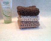 Crochet 100% cotton spa-face cloths. Set of 3, you choose the colors!