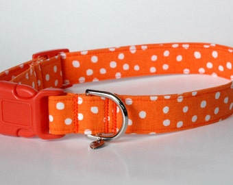 "Handmade Orange w White Polka Dots Dog Collar ""New"""