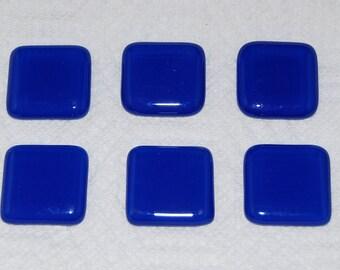 6 Handmade Royal Blue Fused Glass Magnets