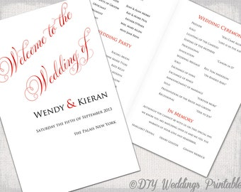 "Red wedding program template DIY printable order of ceremony booklet scarlet red ""Parfumerie"" YOU EDIT wedding program templates download"