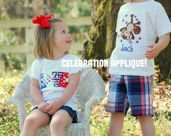 Personalized, Fourth of July Monkey Bodysuit or T- Shirt