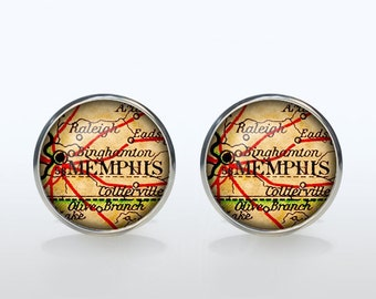 Memphis map Cufflinks Silver plated Memphis vintage map Cuff links men and women Accessories Antique black brown red green