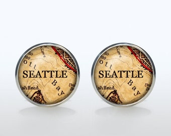 Seattle map Cufflinks Silver plated Seattle vintage map Cuff links men and women Accessories Antique black brown red